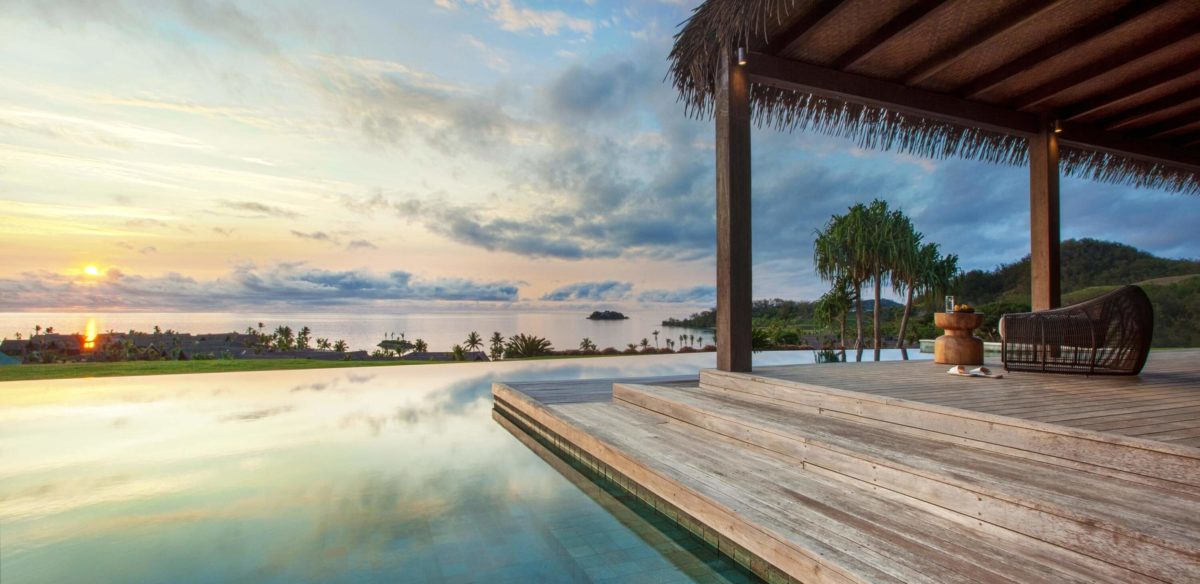 Sunset over Residence pool, Six Senses Fiji